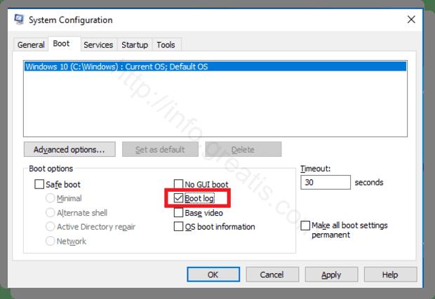 windows 10 enable boot log