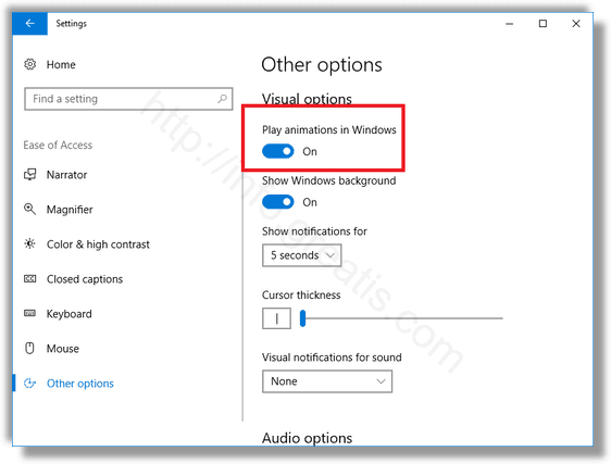 windows 10 Other Options Disable Animations