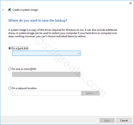 windows-10 select destination to System Image Backup