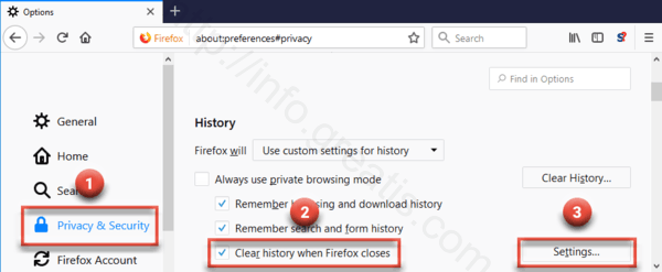 clear history after removed malware virus in firefox