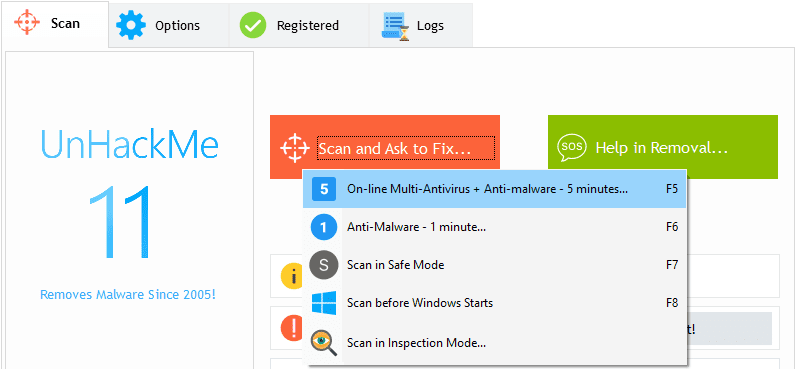 Start removing virus using UnHackMe