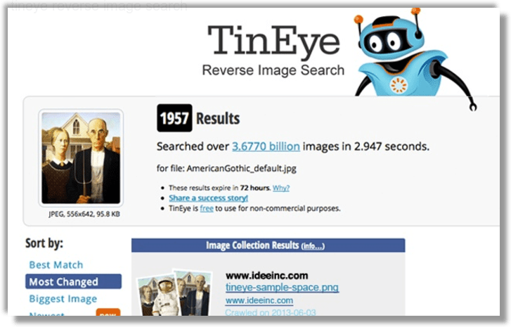 Tinyeye reverse image search