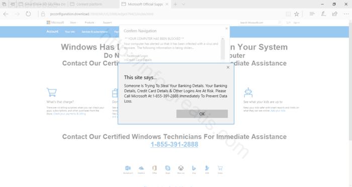 Web site BONEFREEZE displays popup notifications