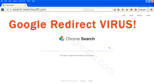 Browser is redirected to the SEARCH.SEARCHIPDF2.COM site