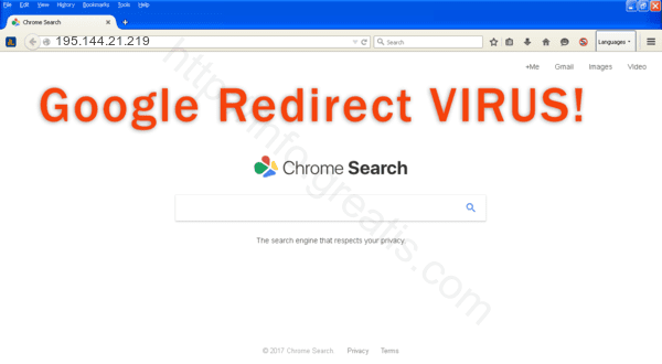 Browser is redirected to the 195.144.21.219 site