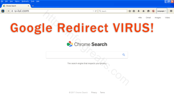 Browser is redirected to the U-IUI.COM site