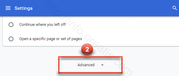 Click Settings-Advanced in Google Chrome