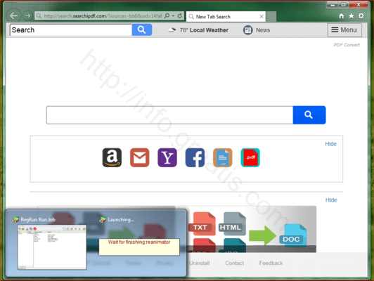 Browser is redirected to the TORRENT SEARCH site