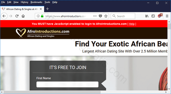 Web site AFROINTRODUCTIONS.COM displays popup notifications