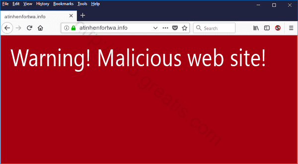 Web site ATINHENFORTWA.INFO displays popup notifications
