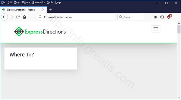 Web site EXPRESSDIRECTIONS.COM displays popup notifications