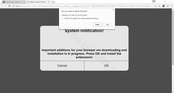 Web site AIROAV.COM displays popup notifications