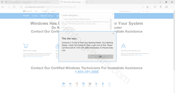 Web site THOUTH.NET displays popup notifications
