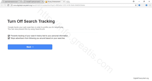Browser is redirected to the YOURNOTIFICATION.TOOLS site