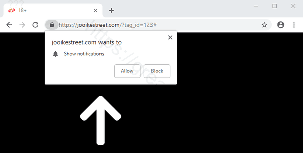 Web site JOOIKESTREET.COM displays popup notifications