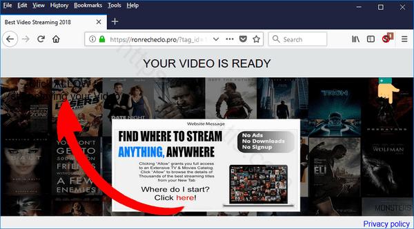 Web site RONRECHECLO.PRO displays popup notifications