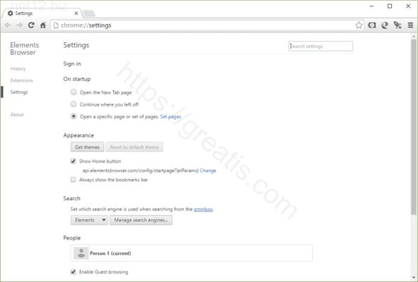 Web site NET12.BIZ displays popup notifications