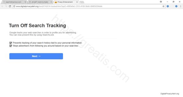Web site PRAGATIMEG.COM displays popup notifications