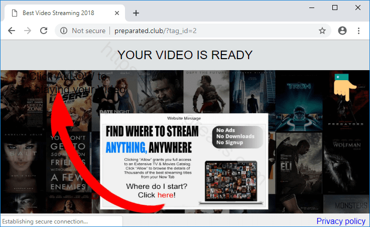 Web site PREPARATED.CLUB displays popup notifications