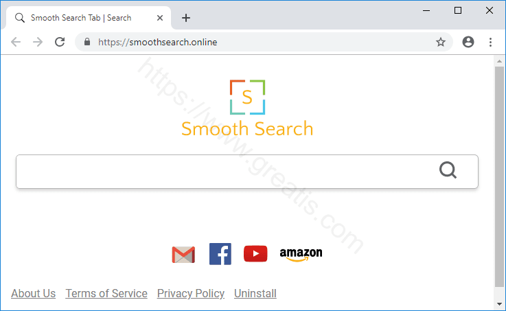 Browser is redirected to the SMOOTHSEARCH.ONLINE site