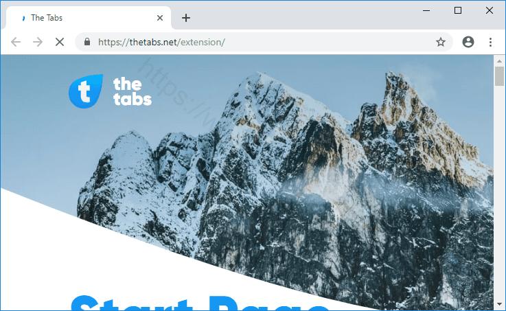 Web site THETABS.NET displays popup notifications