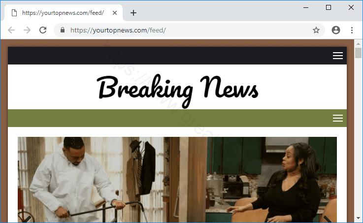 Web site YOURTOPNEWS.COM displays popup notifications