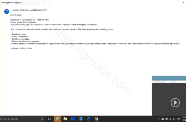 Web site ANSILLUSINTERA.TOP displays popup notifications