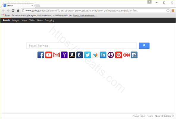 Web site DIOKLE.PRO displays popup notifications