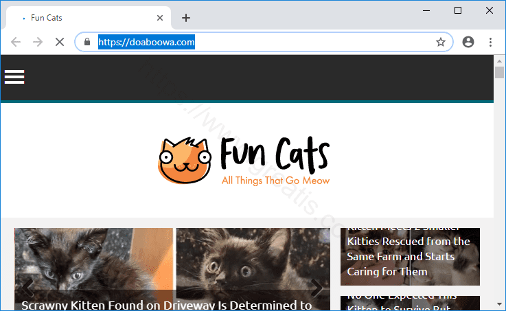 Web site DOABOOWA.COM displays popup notifications