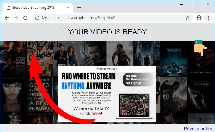 Web site ESSCARNABAN.TOP displays popup notifications