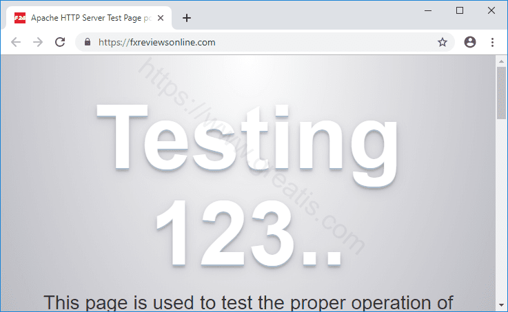 Web site FXREVIEWSONLINE.COM displays popup notifications