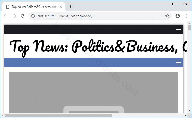 Web site LIVE-A-LIVE.COM displays popup notifications