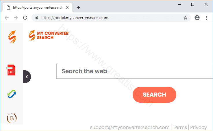 Browser is redirected to the MYCONVERTERSEARCH.COM site