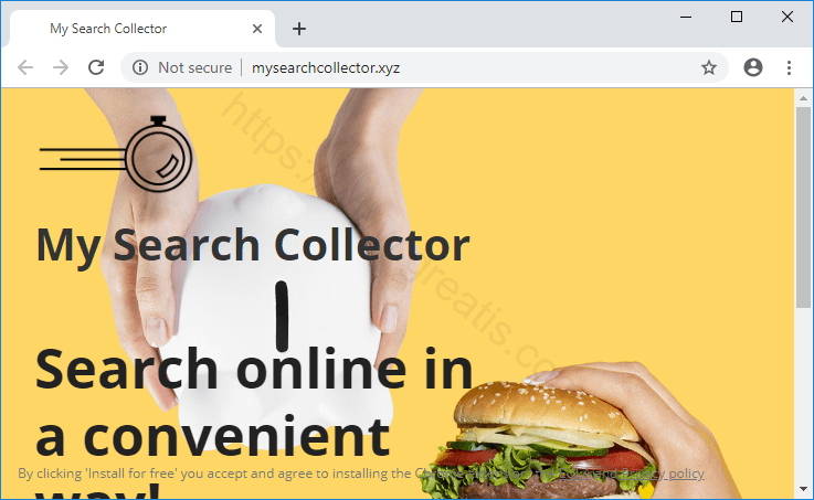 Browser is redirected to the MYSEARCHCOLLECTOR.XYZ site