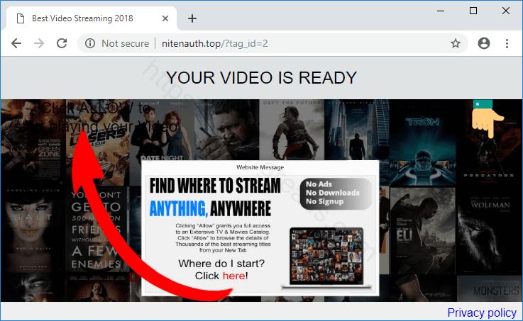 Web site NITENAUTH.TOP displays popup notifications