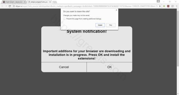 Web site REFOREBALA.TOP displays popup notifications