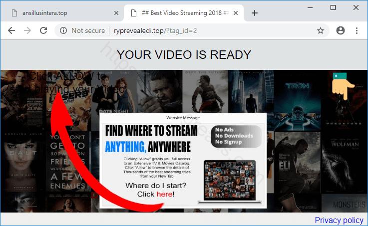 Web site RYPREVEALEDI.TOP displays popup notifications