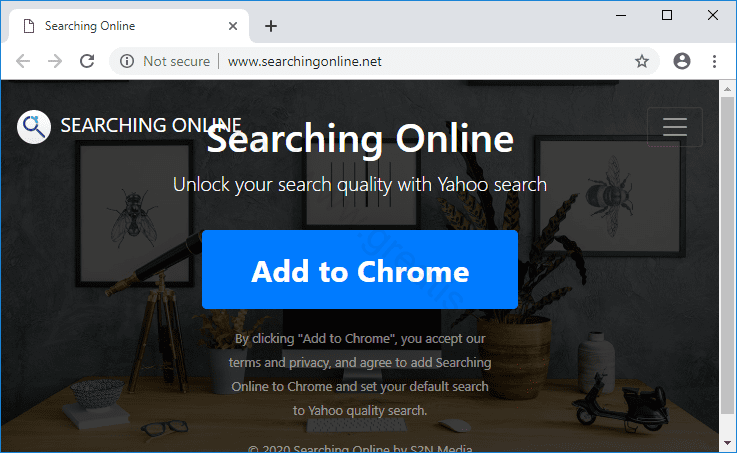 Web site SEARCHINGONLINE.NET displays popup notifications
