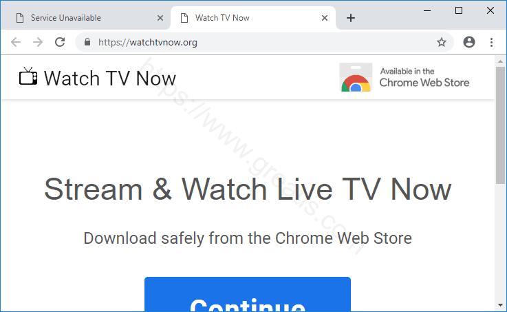 Web site WATCHTVNOW.ORG displays popup notifications